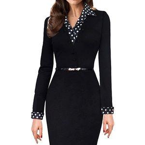 Vintage Black Collared Business Pencil Dress